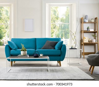 Contemporary living room with sofa