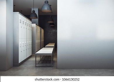 Contemporary locker room interior with copy space on wall. Sports advertisement concept. Mock up, 3D Rendering