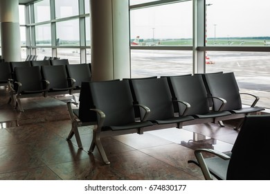 contemporary lounge with seats in the airport