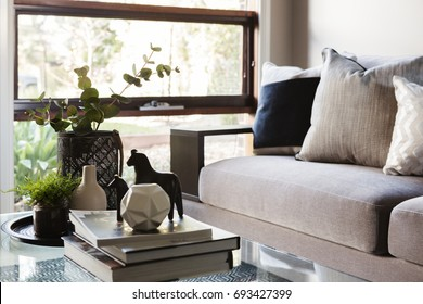 Contemporary luxury interior sofa and coffee table objects
