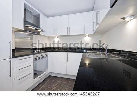 Contemporary Luxury Kitchen White Black Stone Stock Photo Edit Now