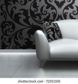 A contemporary luxury sofa in an interior.