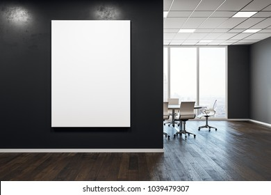 Contemporary meeting room interior with empty poster on wall. Presentation concept. Mock up, 3D Rendering