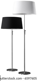 Contemporary metallic black and white floor lamps isolated on white background