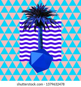 Contemporary minimal art collage.Tropical palms mood. Zine culture concept