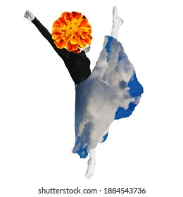 Contemporary modern art collage in magazine style. Ballerina woman ballet dancer dressed in professional outfit, shoes and sky skirt is demonstrating dancing skill. Flower instead of head.