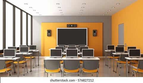 Contemporary multimedia classroom with digital blackboard,laptop and speaker - 3d rendering
