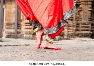 Contemporary Odissi Pada Bheda Traditional ankle bells called ghungroo, Alta(Red Dye) at Ananta Basudeva Temple,Bhubaneswar, Odisha, India