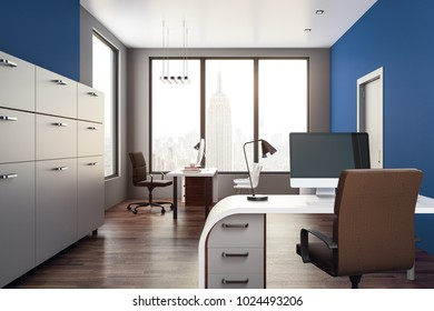 Contemporary office interior with workplace and New York city view. 3D Rendering