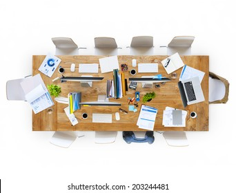 Contemporary Office Table with Equipments and Chairs