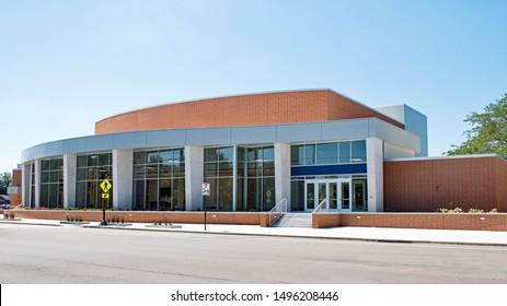 Contemporary Red Brick & Glass Convex Building