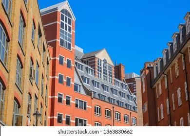 Contemporary red brick mansion block around Holborn in London