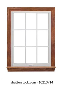 Contemporary, residential window frame isolated on white