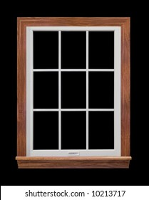 Contemporary, residential window frame isolated on black