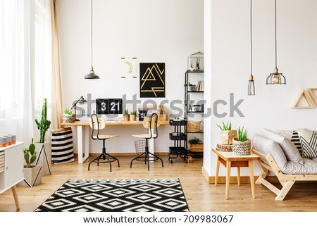 Contemporary Room In Scandinavian Style With Office Interior Desk Poster Retro Chairs And