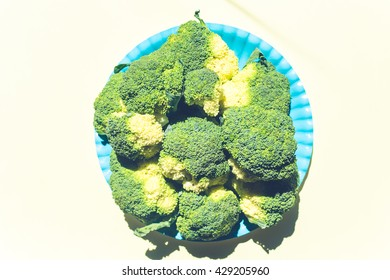 contemporary still life of broccoli on blue trendy background