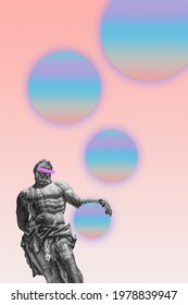 contemporary surreal collage, sculpture Ercole with colorful bubble