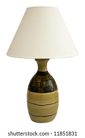 Contemporary Table Lamp and Shade in Earth Tone Colors