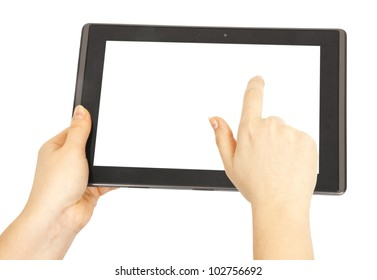 Contemporary tablet pc in woman hands isolated on white background