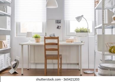 Contemporary teenage room in minimalist design - horizontal view
