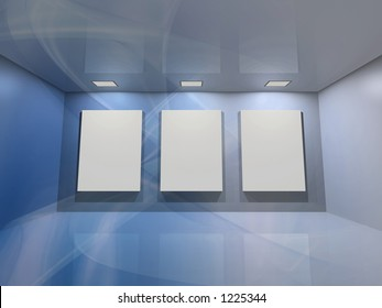 Contemporary virtual interior with three blank frames for your exhibition.