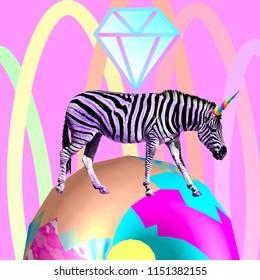Contemporary visual art collage. Minimal concept.  Zebra also Unicorn. Lol