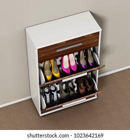 Contemporary wooden shoe cabinet design. 3D illustration.