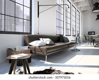 Contemporary workplace in a loft interior. 3d rendering