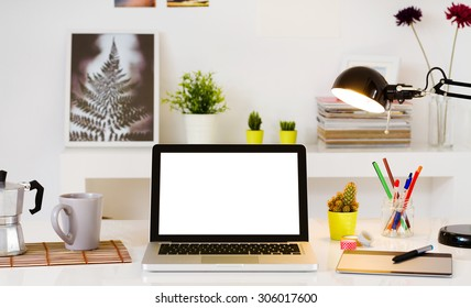 Contemporary workspace with computer