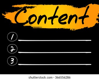Content Blank List, concept background