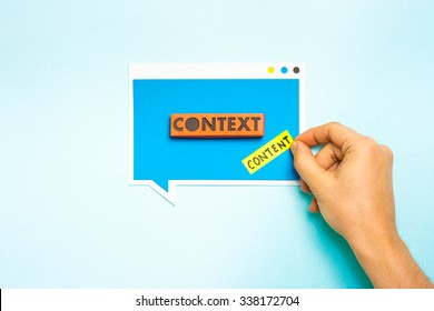 Content in context concept. Content marketing.