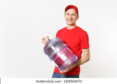 Content delivery courier or dealer man in red uniform carrying bottle of fresh water to office cooler isolated on white background. Professional happy male in cap shirt. Copy space for advertisement