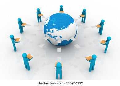Content Management System in File Sharing Art. People sharing file.