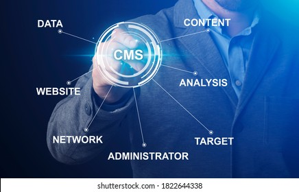 Content management system and website administration concept. Collage with IT manager pushing CMS button on imaginary screen with word cloud, panorama