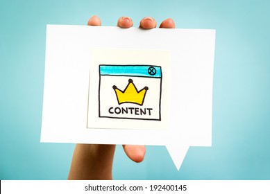Content marketing is king, online concept. Influencer marketing.