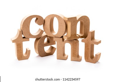 CONTENT wood word on white background for building content concept