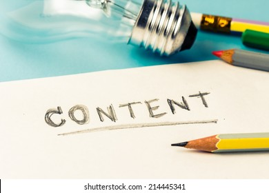 Content writing concept with light bulb as creative symbol