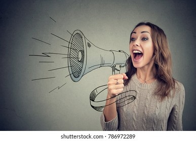 Content young woman screaming in loudspeaker making announcement.