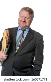 Contented Businessman With Folders - On White