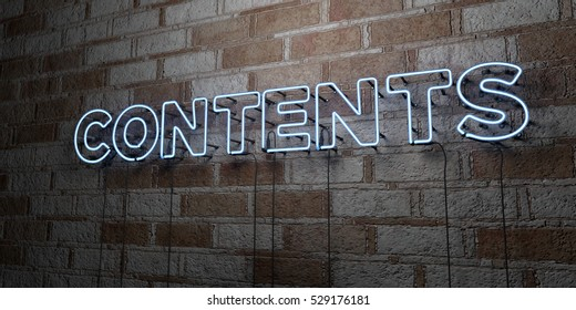CONTENTS - Glowing Neon Sign on stonework wall - 3D rendered royalty free stock illustration.  Can be used for online banner ads and direct mailers.