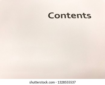 Contents text on white blank