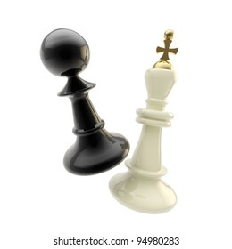Contest and competition: glossy pawn and king figures isolated on white as a duel