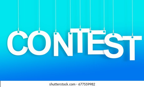 Contest hanging Letters over blue background 3D rendering