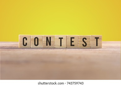 Contest word with yellow background