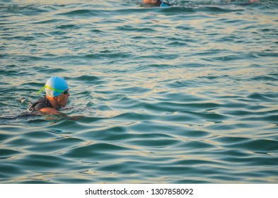Contestant warmup before start of swimming in Doha triathlon conducted event on 8 FEB 2019 at Qatar Doha corniche