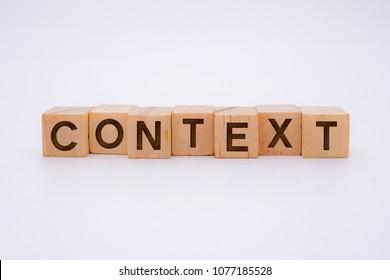 CONTEXT Word Written In Wooden Cube