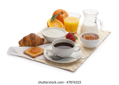 continental breakfast with bread and croissant