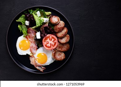 continental breakfast food, business lunch, restaurant menu, delicious nourishing morning meals, roasted eggs, sausage and salad