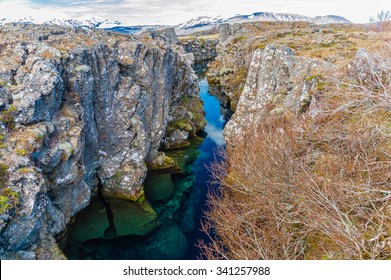 The continental divide between the European and North American continental plate in Iceland.