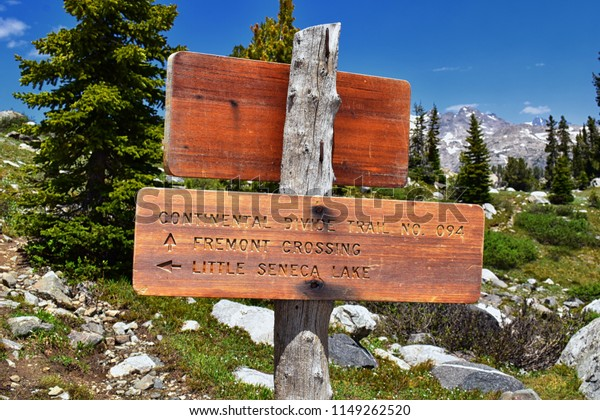 Continental Divide Trail sign in Wind Rivers Range Wyoming along Continental Divide Trail No. 094, Fremont Crossing, Seneca Lake, Lester Pass, Island Lake and Indian Lake which is part of the Rocky Mo